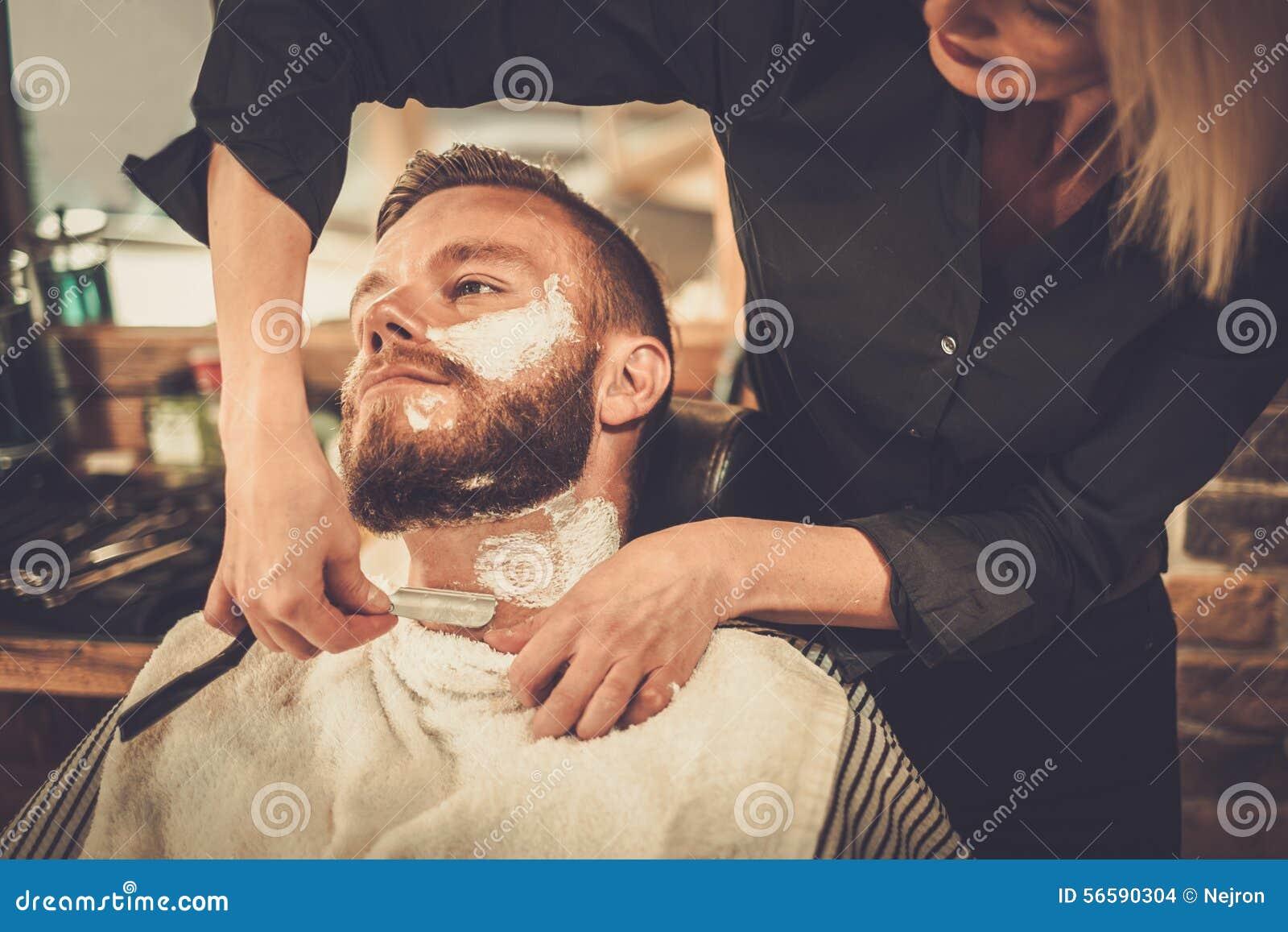 client in barber shop stock photo image 56590304. Black Bedroom Furniture Sets. Home Design Ideas