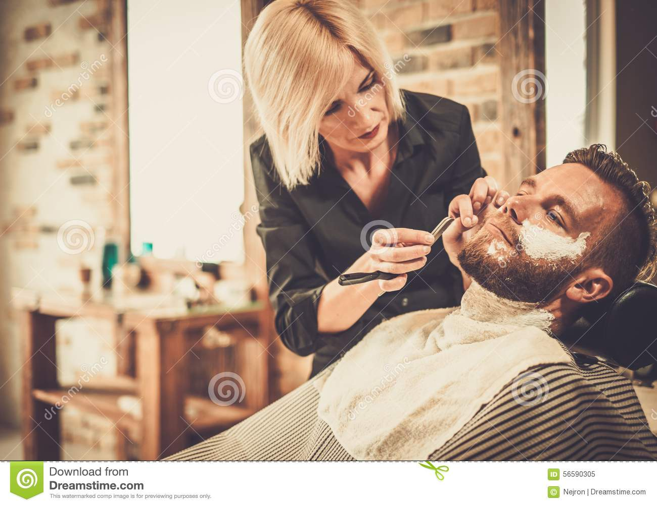 Client In Barber Shop Stock Photo Image 56590305