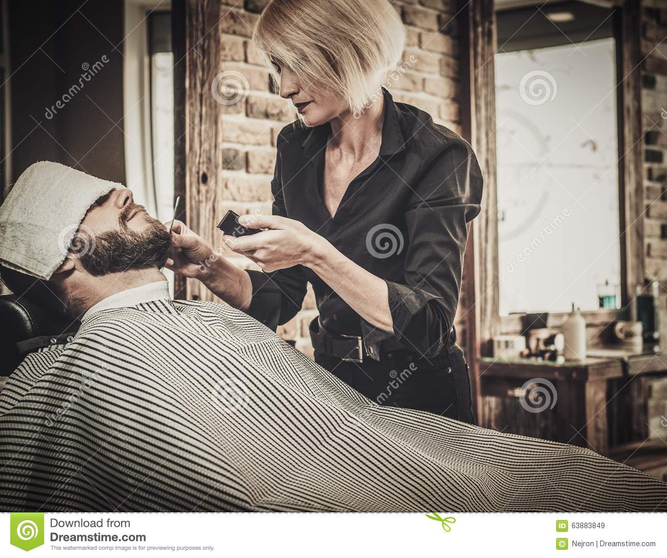 client during beard and moustache grooming stock photo image 63883849. Black Bedroom Furniture Sets. Home Design Ideas