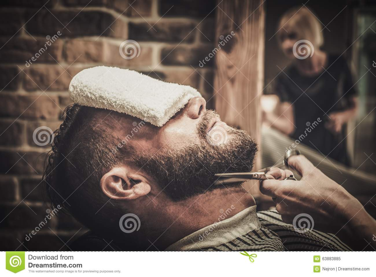 client during beard and moustache grooming stock photo image 63883885. Black Bedroom Furniture Sets. Home Design Ideas