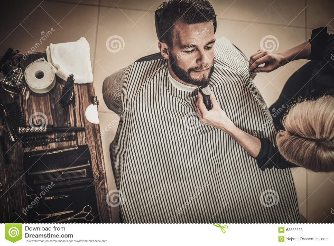 client during beard and moustache grooming stock photo image 63883888. Black Bedroom Furniture Sets. Home Design Ideas