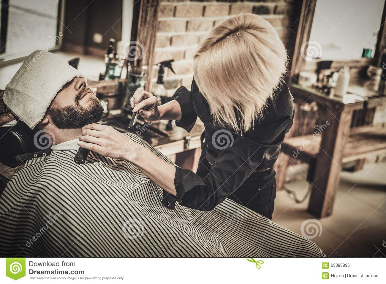 client during beard and moustache grooming stock photo. Black Bedroom Furniture Sets. Home Design Ideas