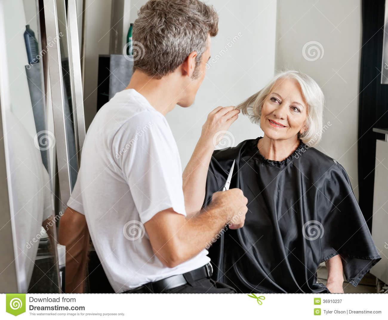 Client instructing hairdresser in salon royalty free stock for Salon seniors