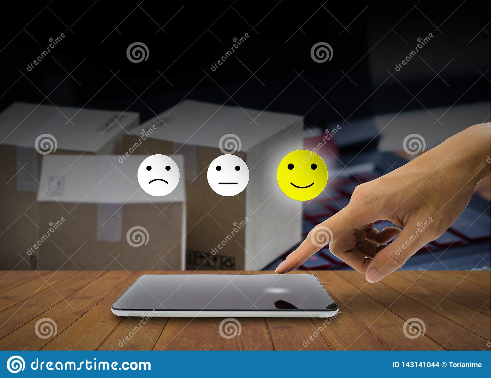 The Client Using Hand Choose Happy Face Smile On Smartphone