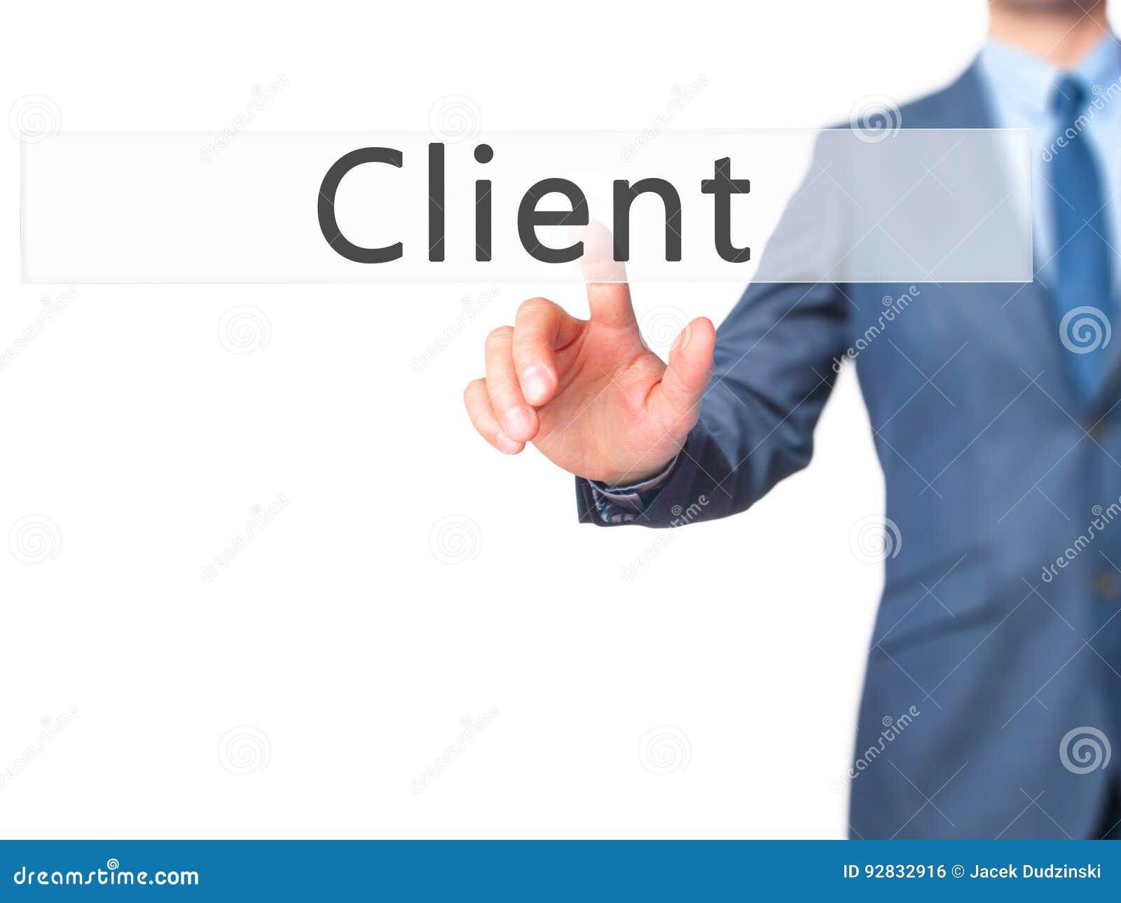 Cliente - bottone di stampaggio a mano dell uomo d affari sul interf del touch screen