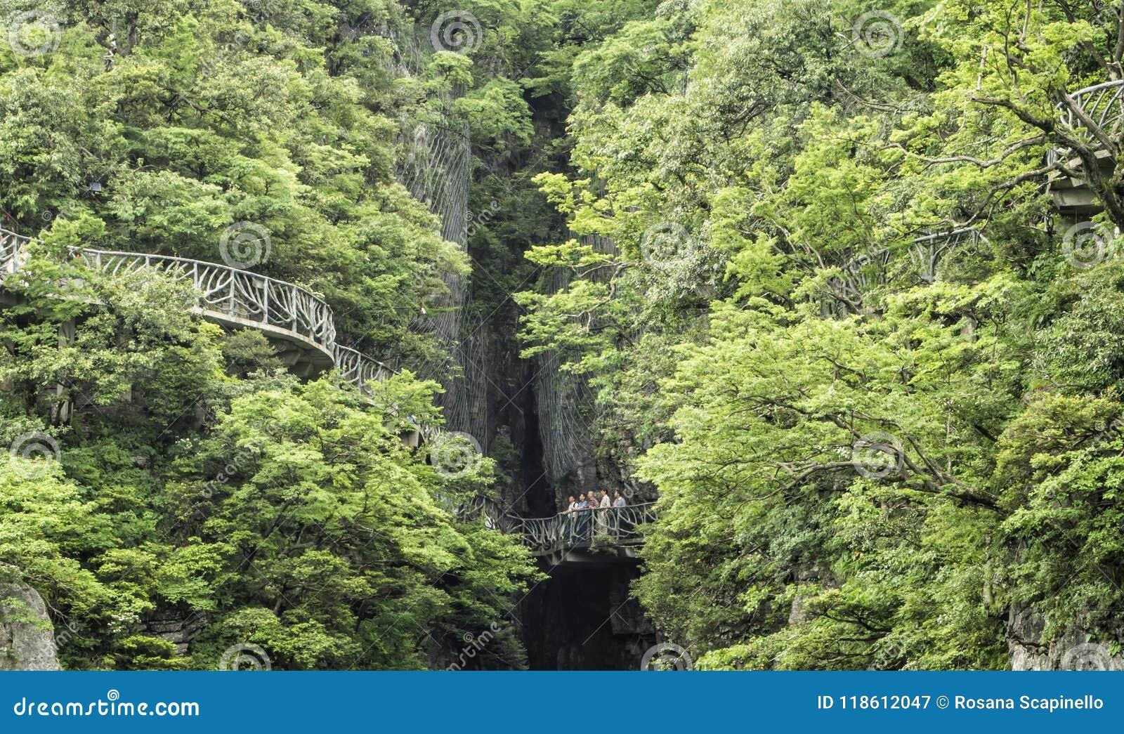Cliff Hanging Walkway bij Tianmen-Berg, de Hemel` s Poort in Zhangjiagie, de Provincie van Hunan, China, Azië