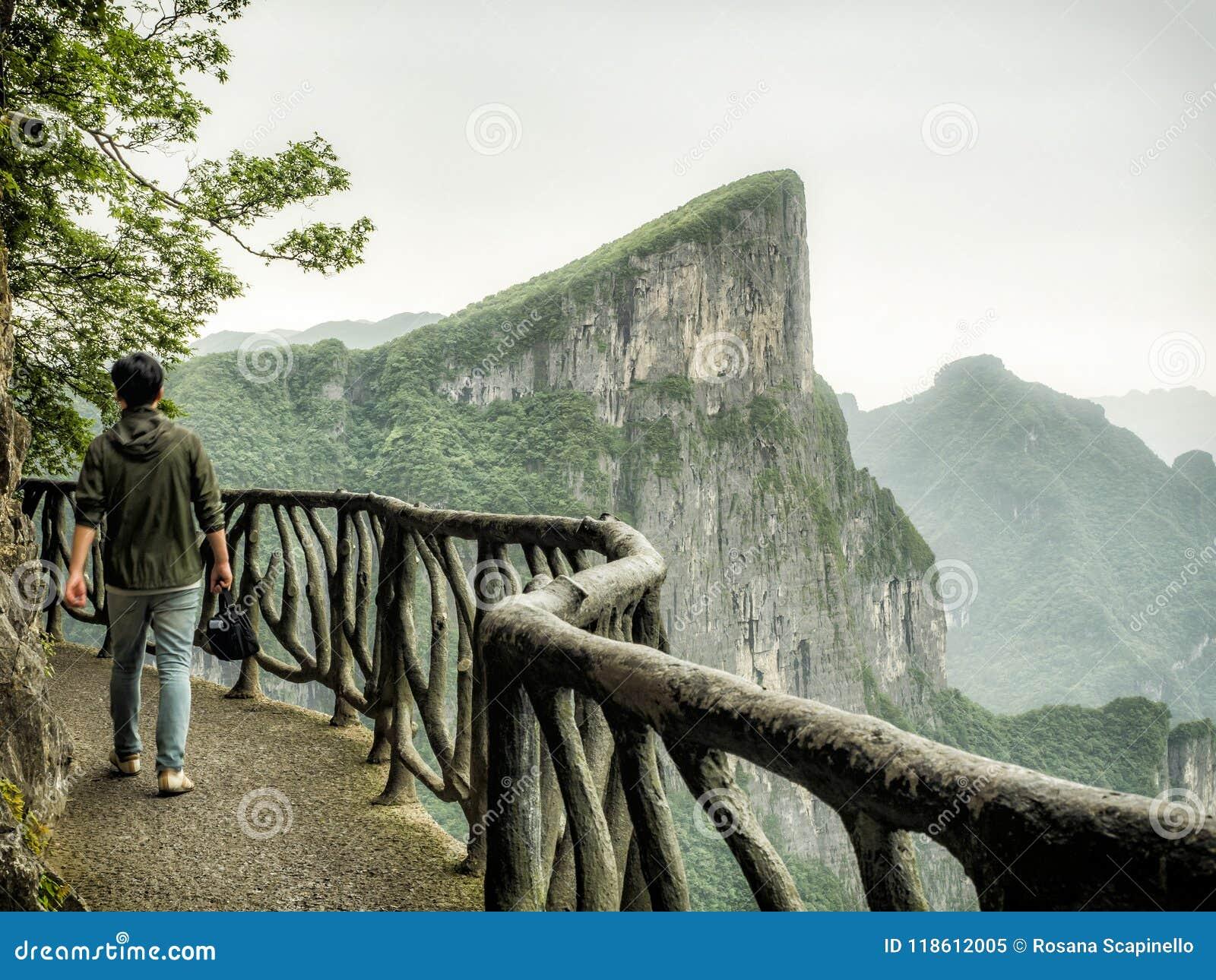The Cliff Hanging Walkway at Tianmen Mountain, The Heaven`s Gate at Zhangjiagie, Hunan Province, China, Asia
