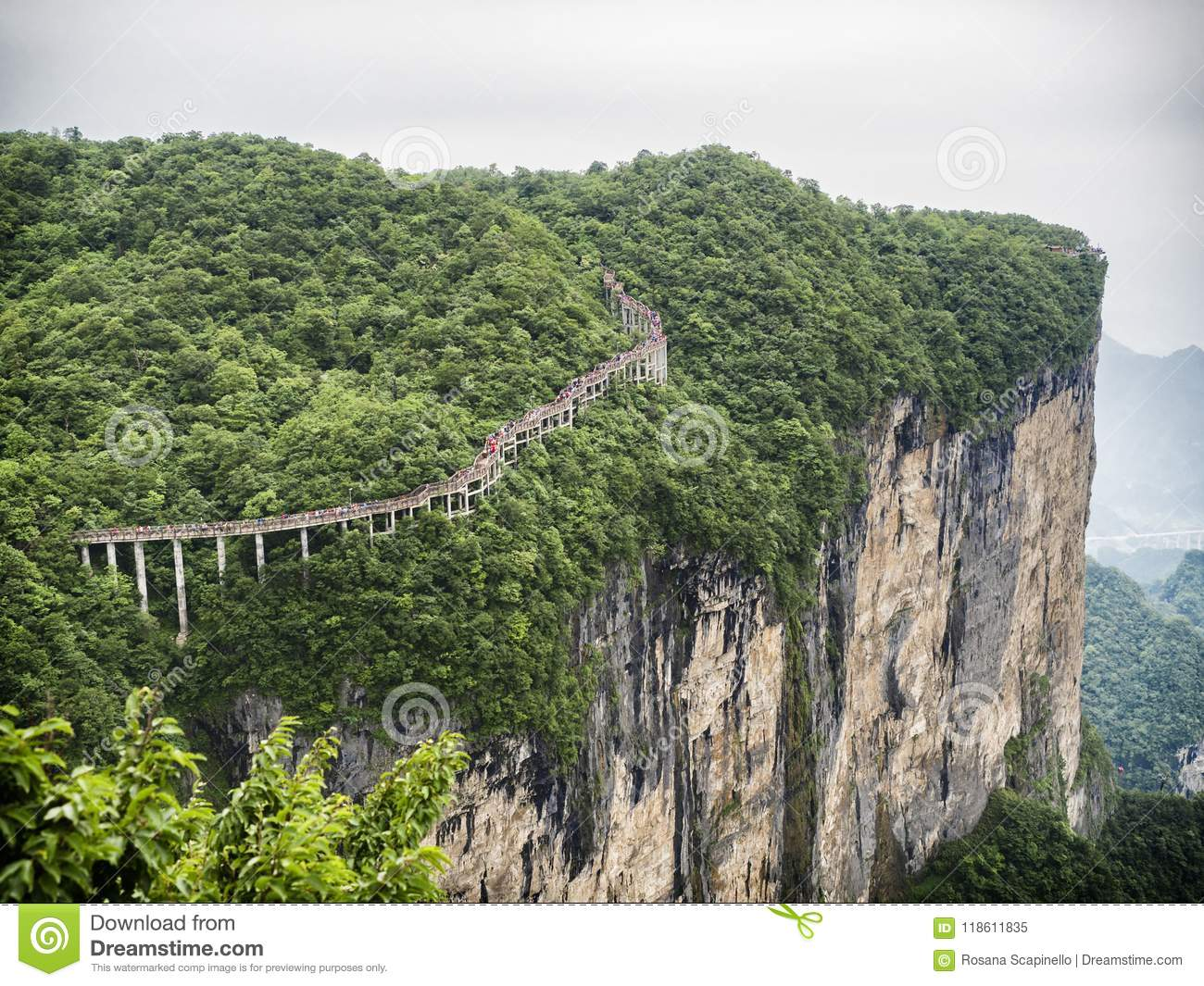 The Cliff Hanging Walkway at Tianmen Mountain, The Heaven`s Gate at Zhangjiagie, Hunan Province, China, Asia