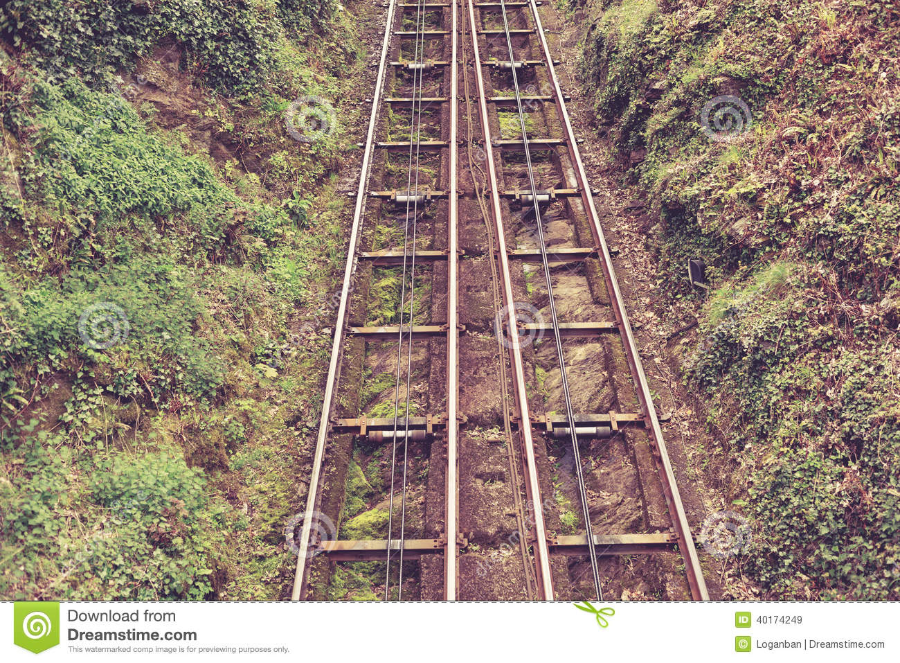 Cliff rail on a hill stock image of incline