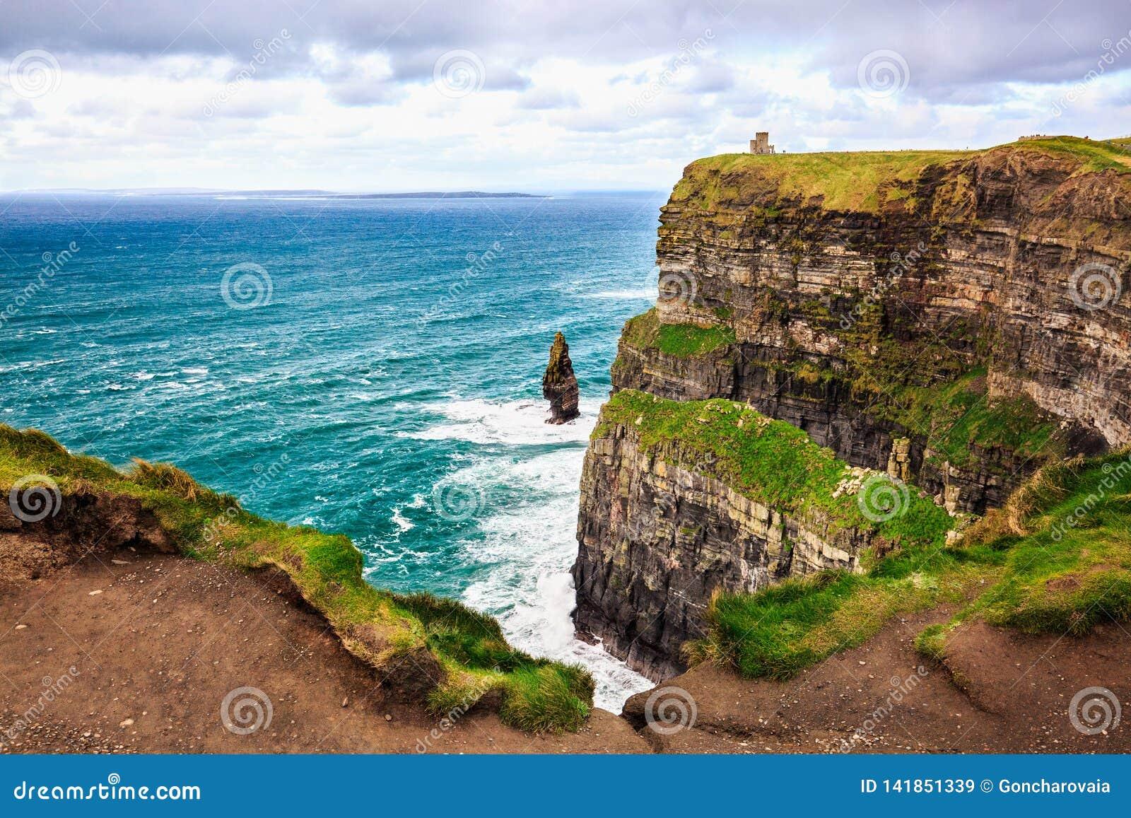 Cliffs of Moher, Ireland. Atlantic Ocean.