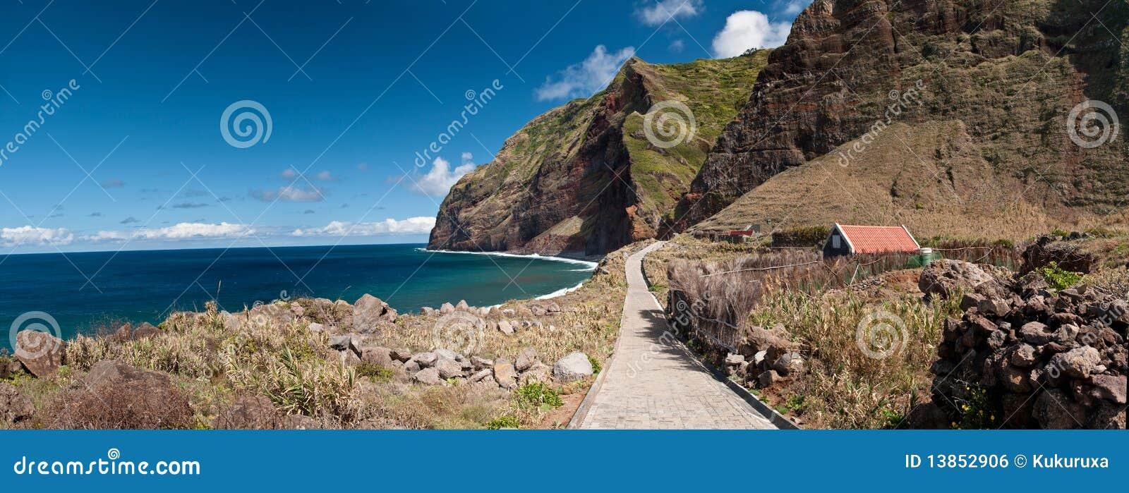 Cliffs surround a bay on Madeira