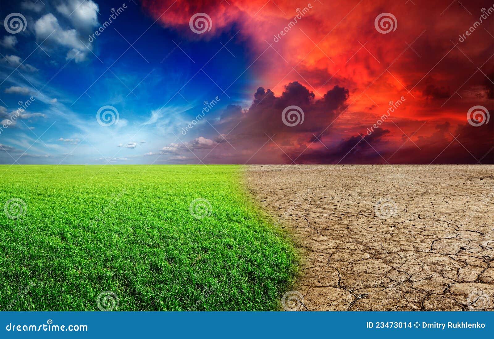 Ecology landscape - climate change concept, desert invasion.