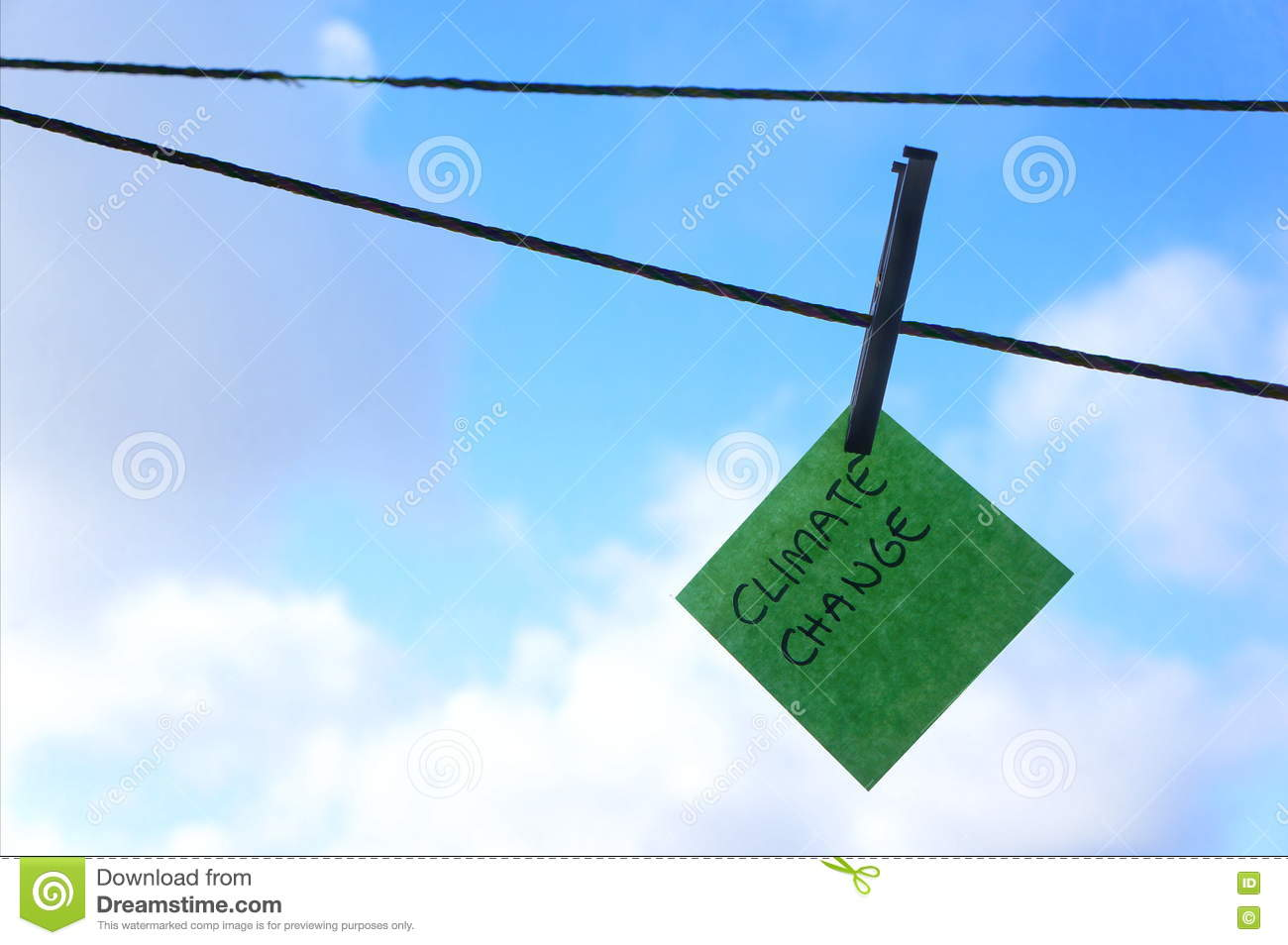 Climate change, global warming concept, post it note, washing line