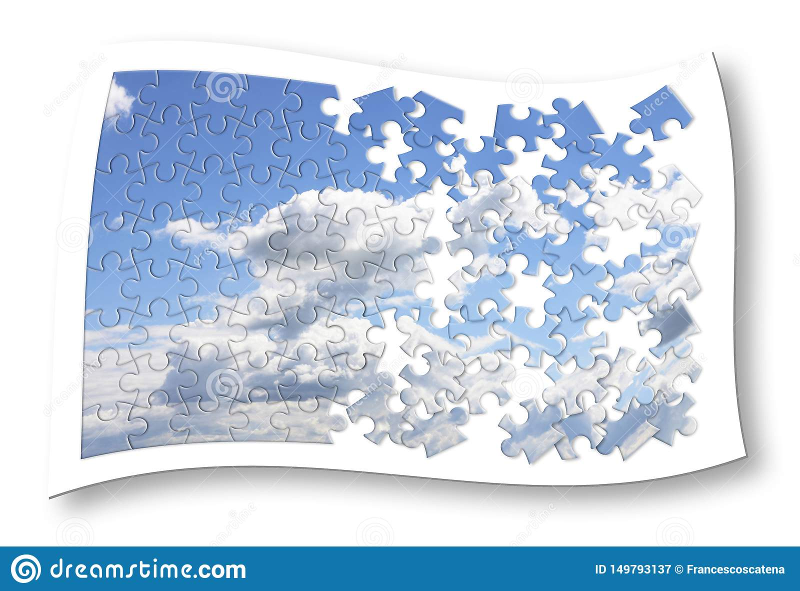 Climate changes concept image with a cloudy sky in puzzle shape