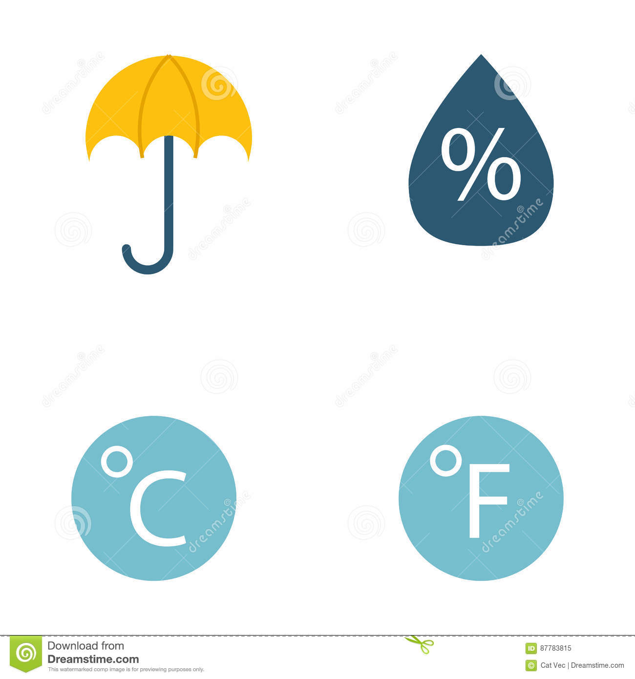 Climate Forecast Weather Symbols Vector Stock Vector Illustration
