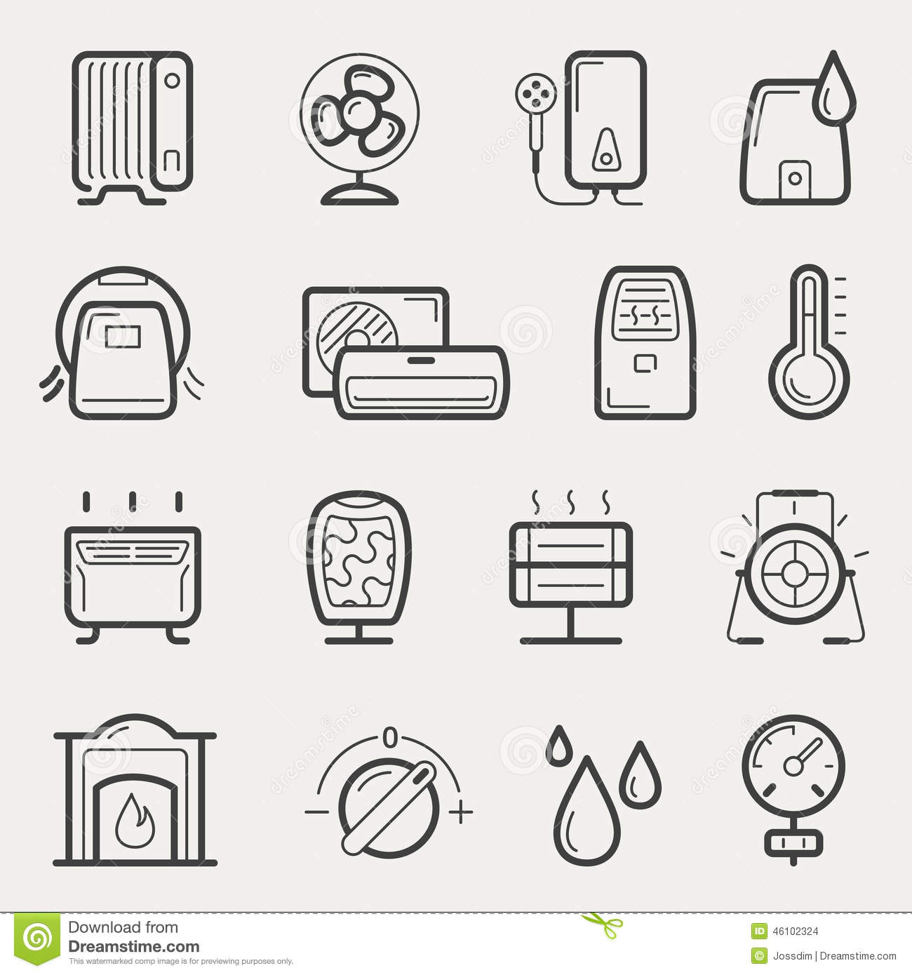 Symbol Air Purifier : Climatic equipment icons stock vector image