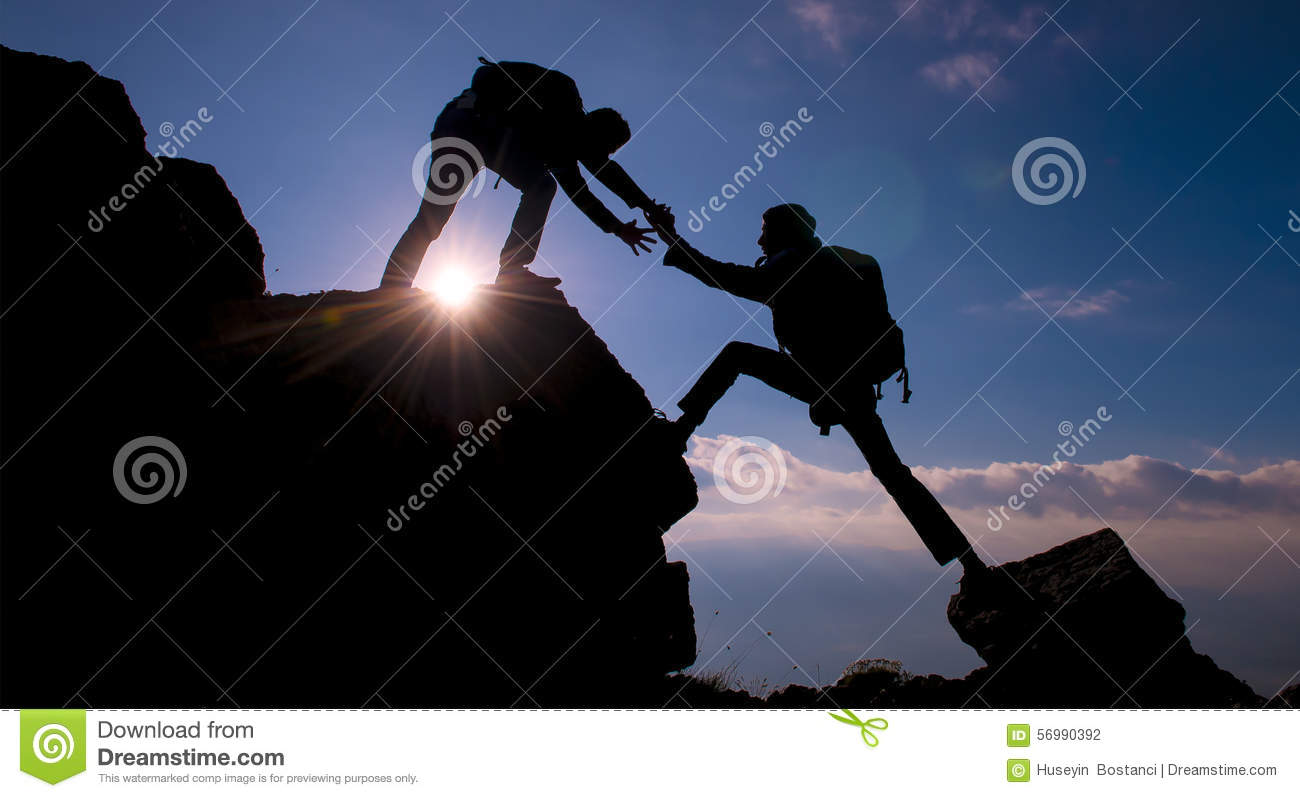 achieve together climber helping success stock photo image of