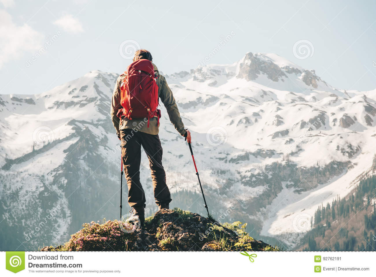 Climber Man Hiking With Backpack Stock Image ...