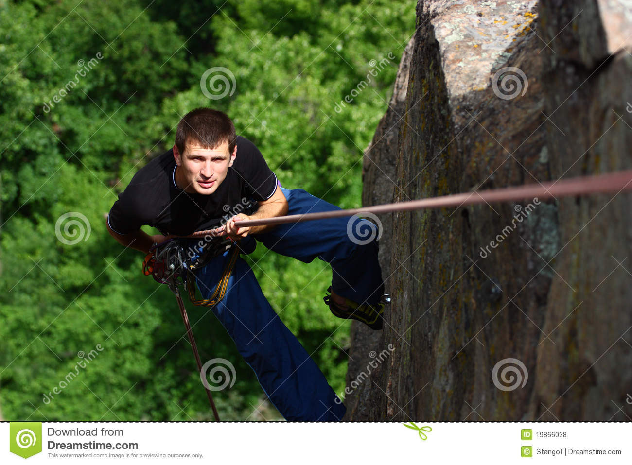 Climber rappelling