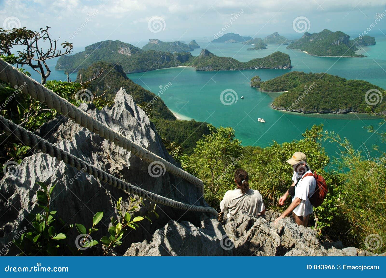 Climbers above the sea