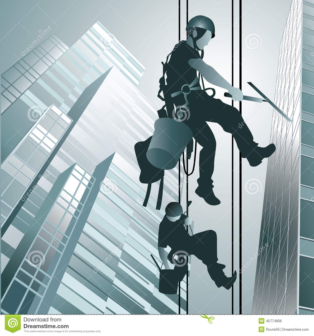 Climbers Clean Windows Stock Vector Image 45774806