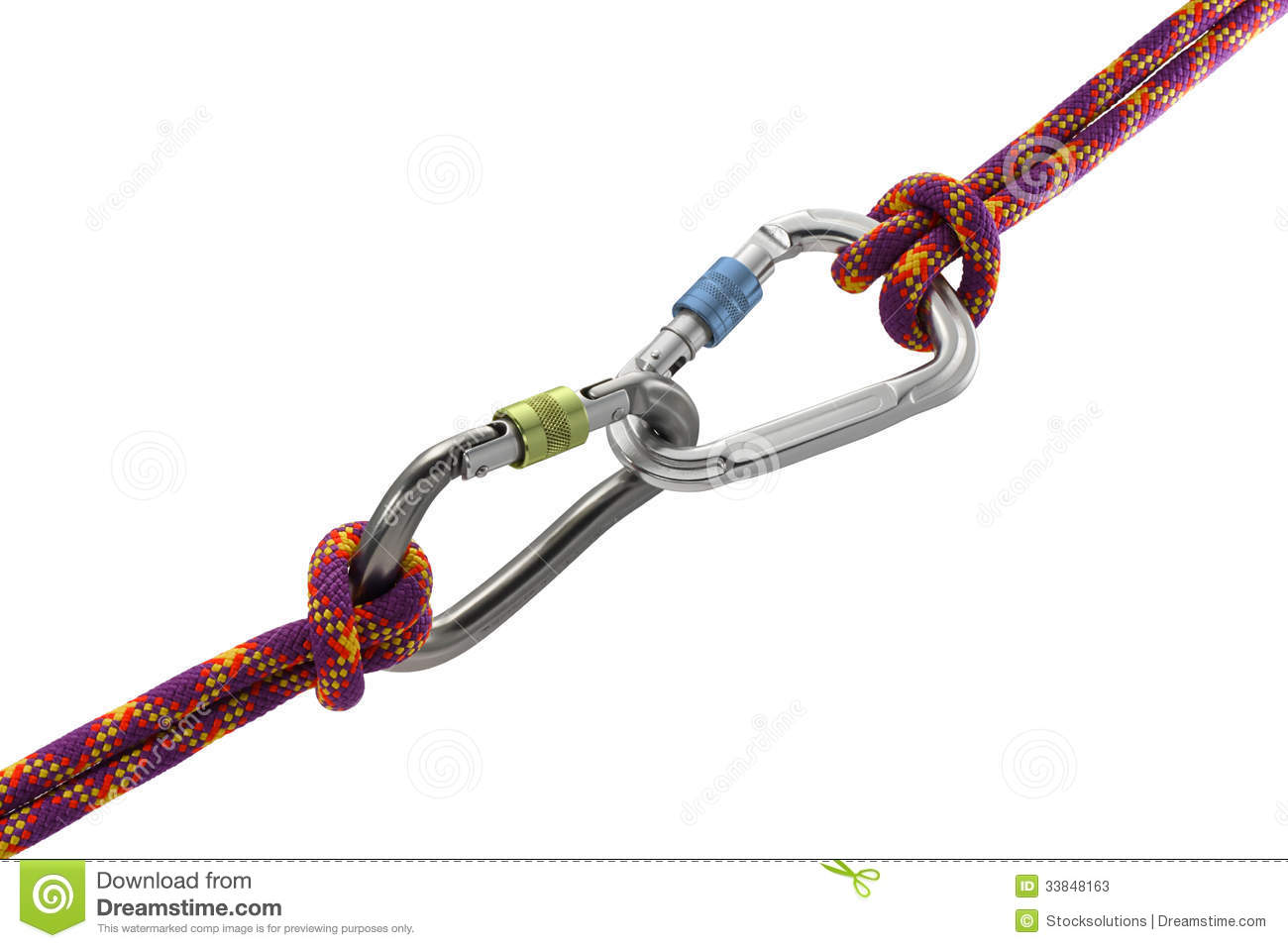 Two carabiners tied with knots to climbing rope or mountaineering ...