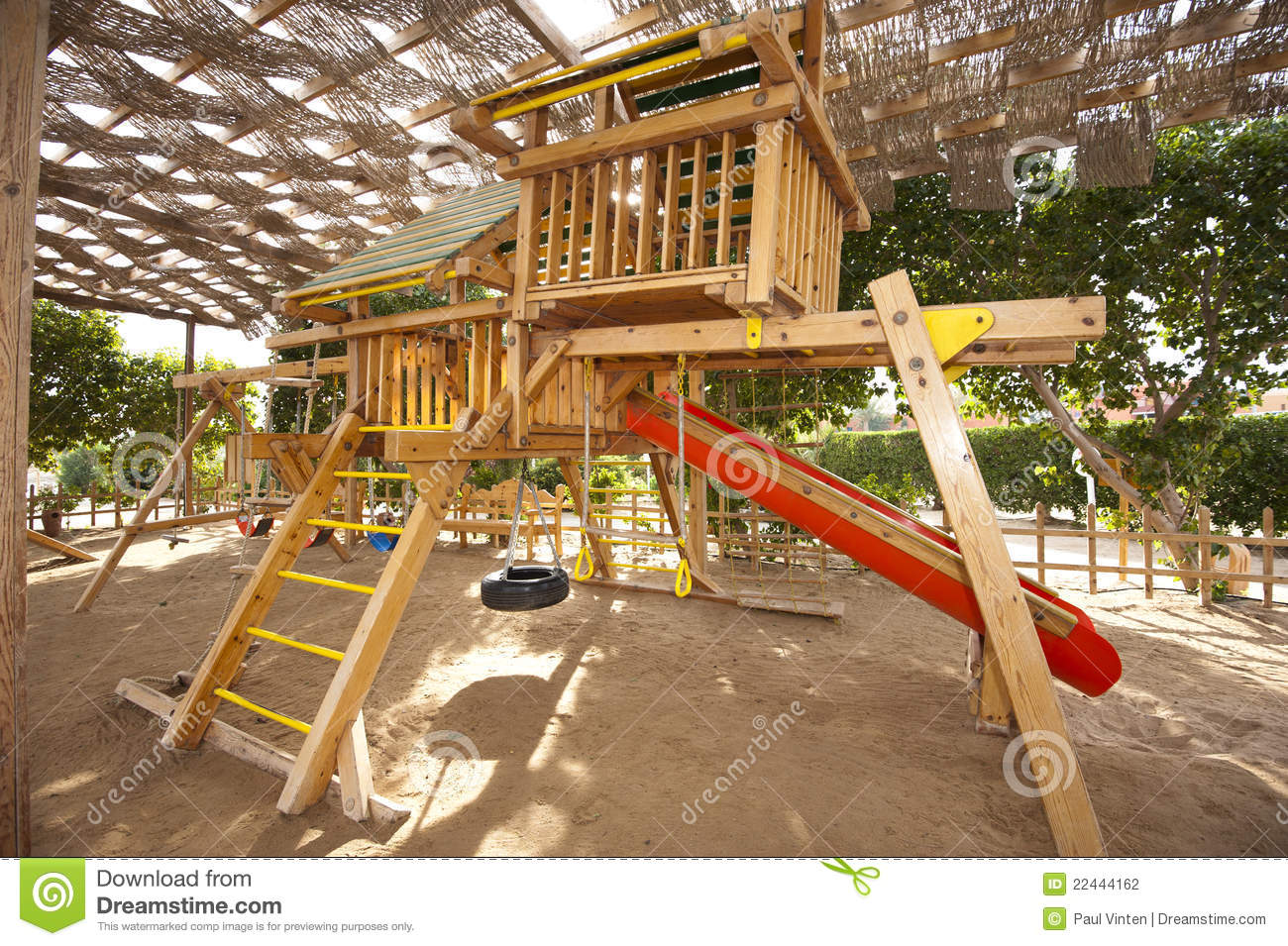 Climbing Frame In A Childrens Play Area Stock Photo ...