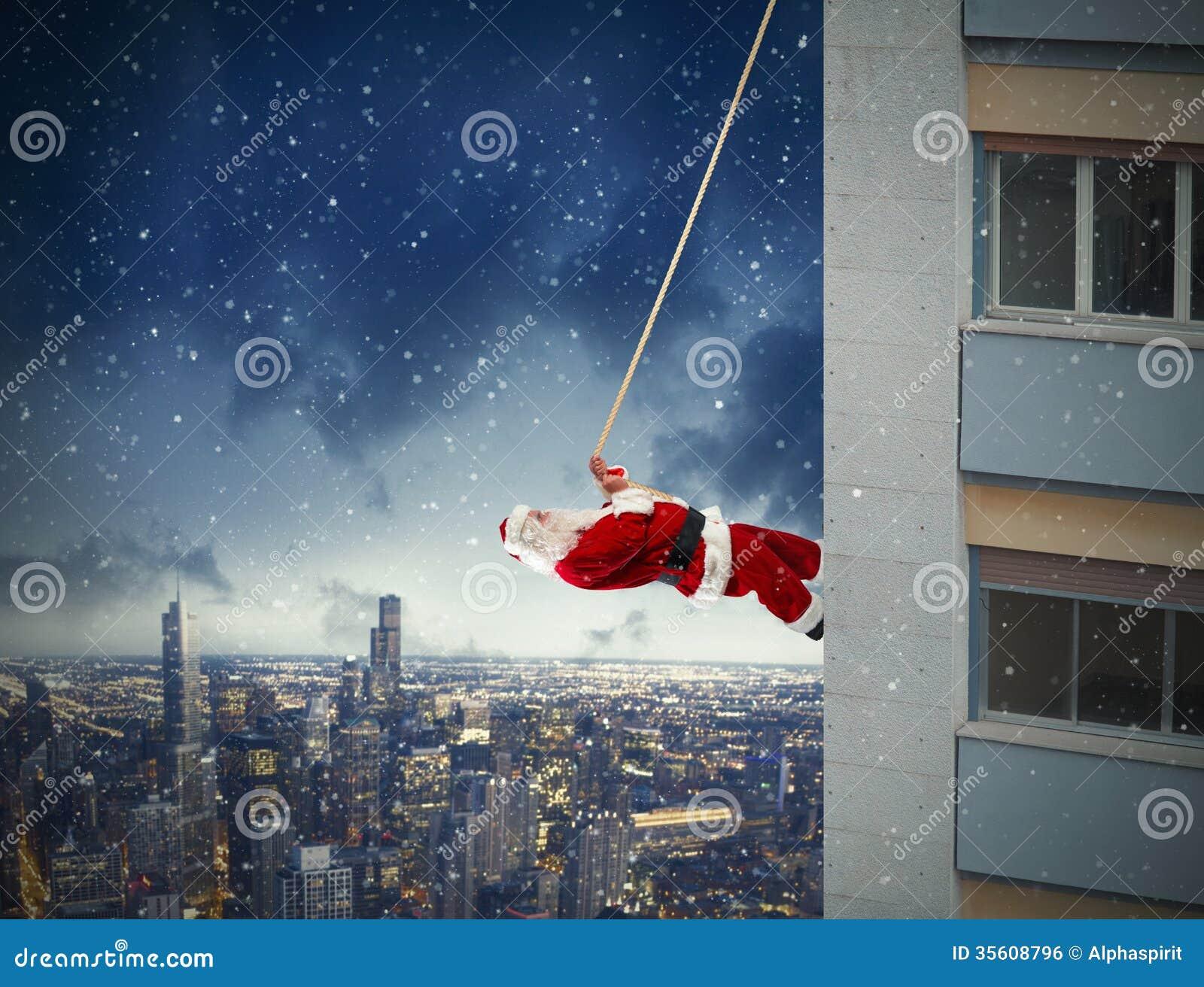Climbing Santa Claus Royalty Free Stock Image Image