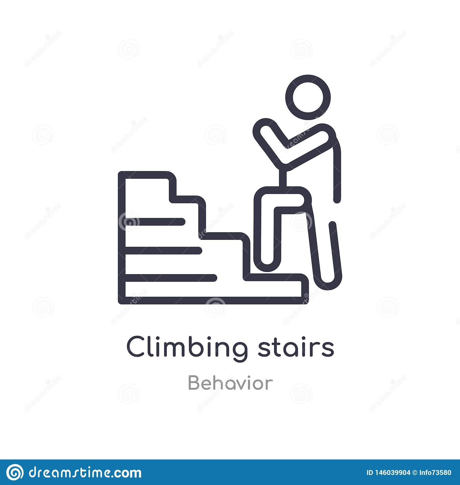 climbing stairs outline icon. isolated line vector illustration from behavior collection. editable thin stroke climbing stairs