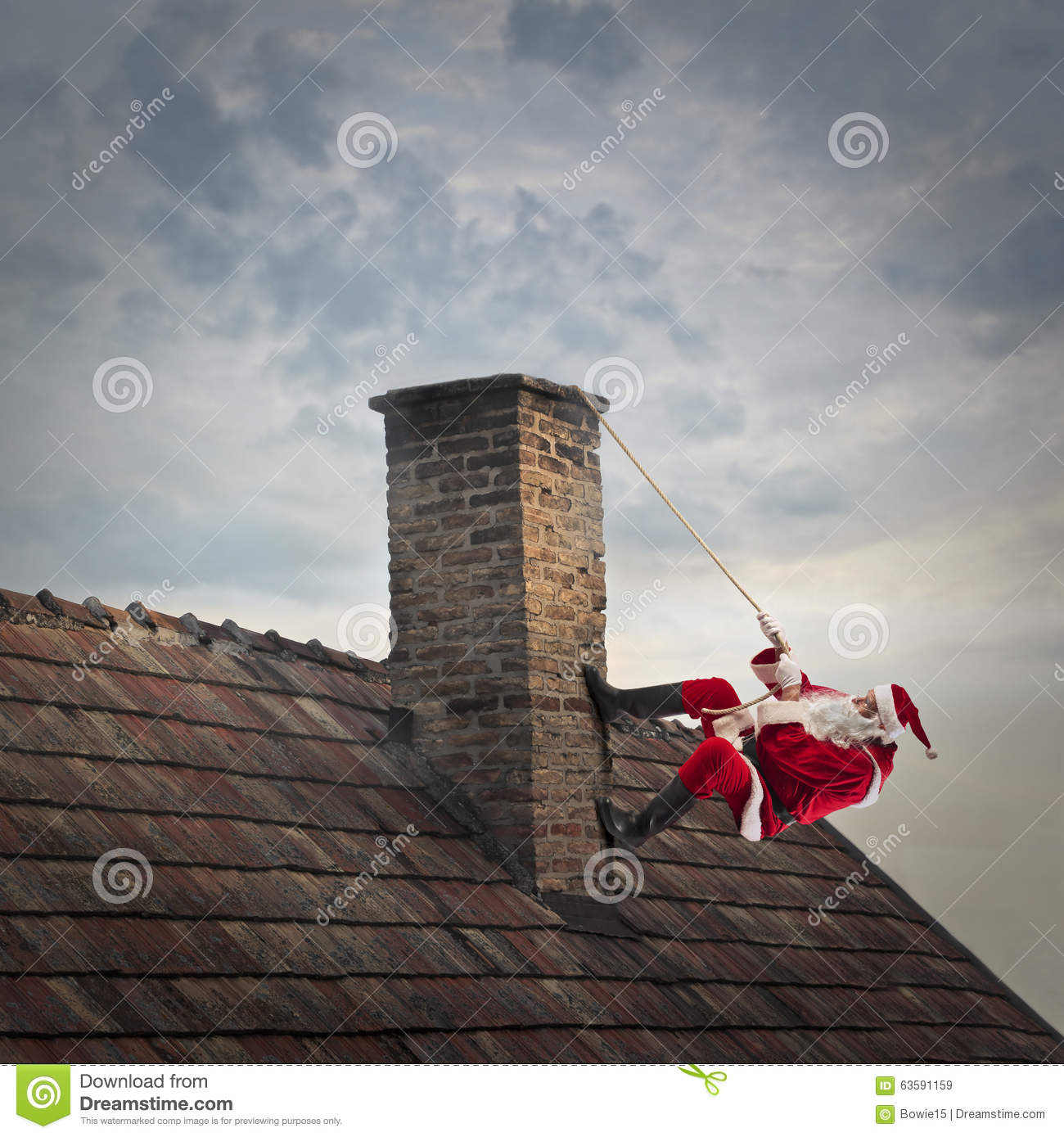 Climbing Up The Chimney Stock Photo Image 63591159