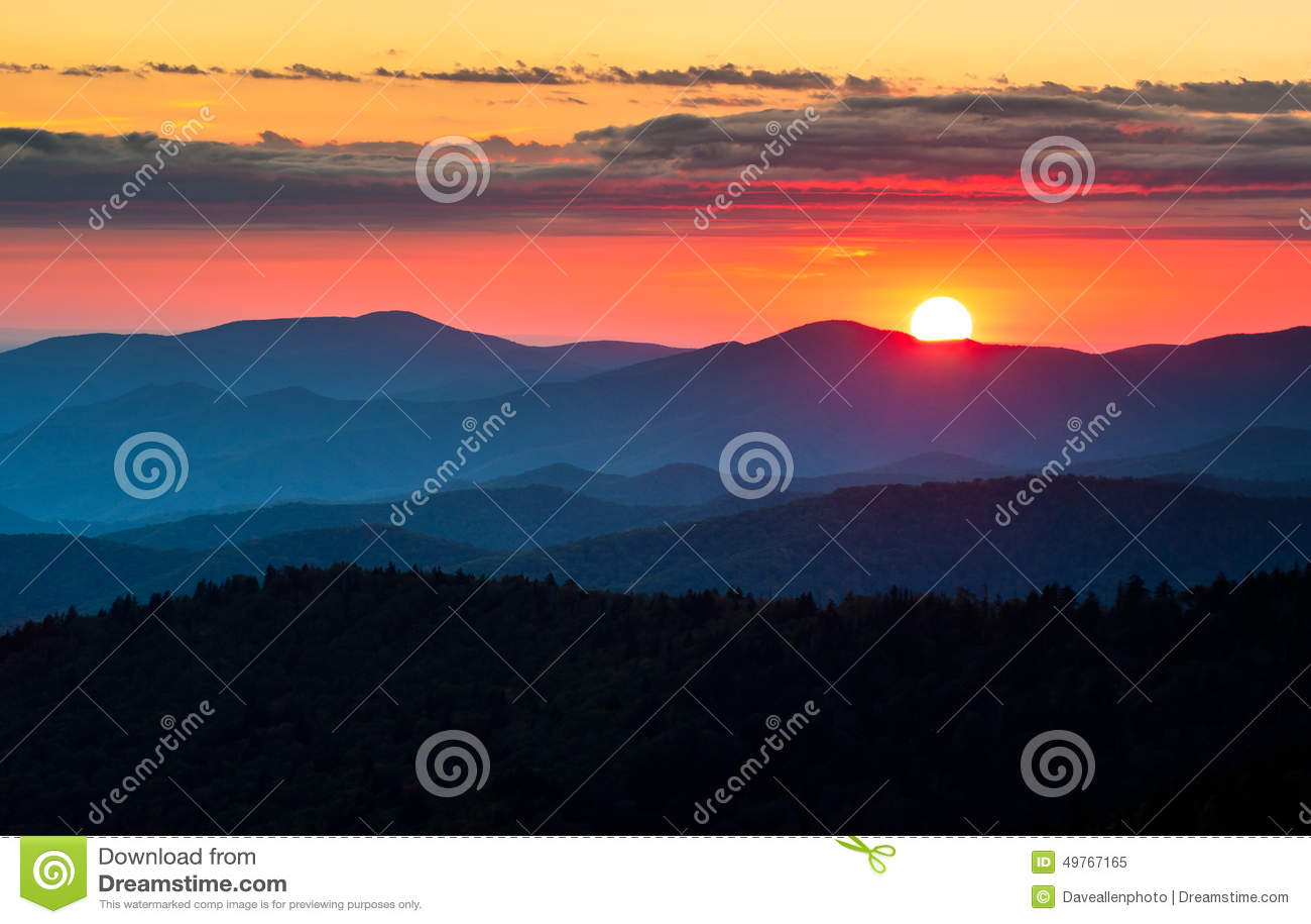 Clingmans圆顶大烟山国家公园风景日落