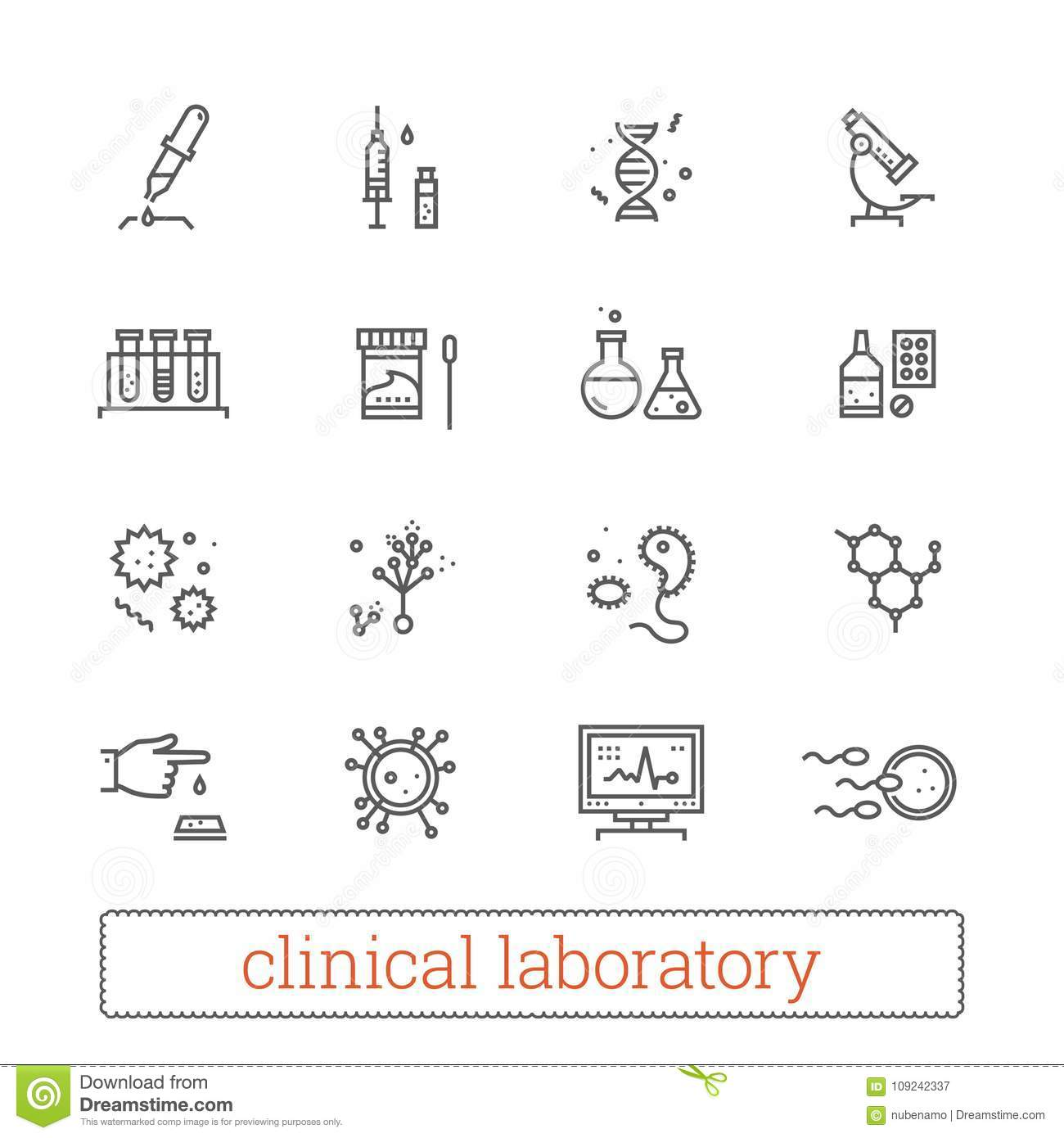 Clinical laboratory thin line icons: medicine science, virology study, microbiology assay, genetics, medical equipment.