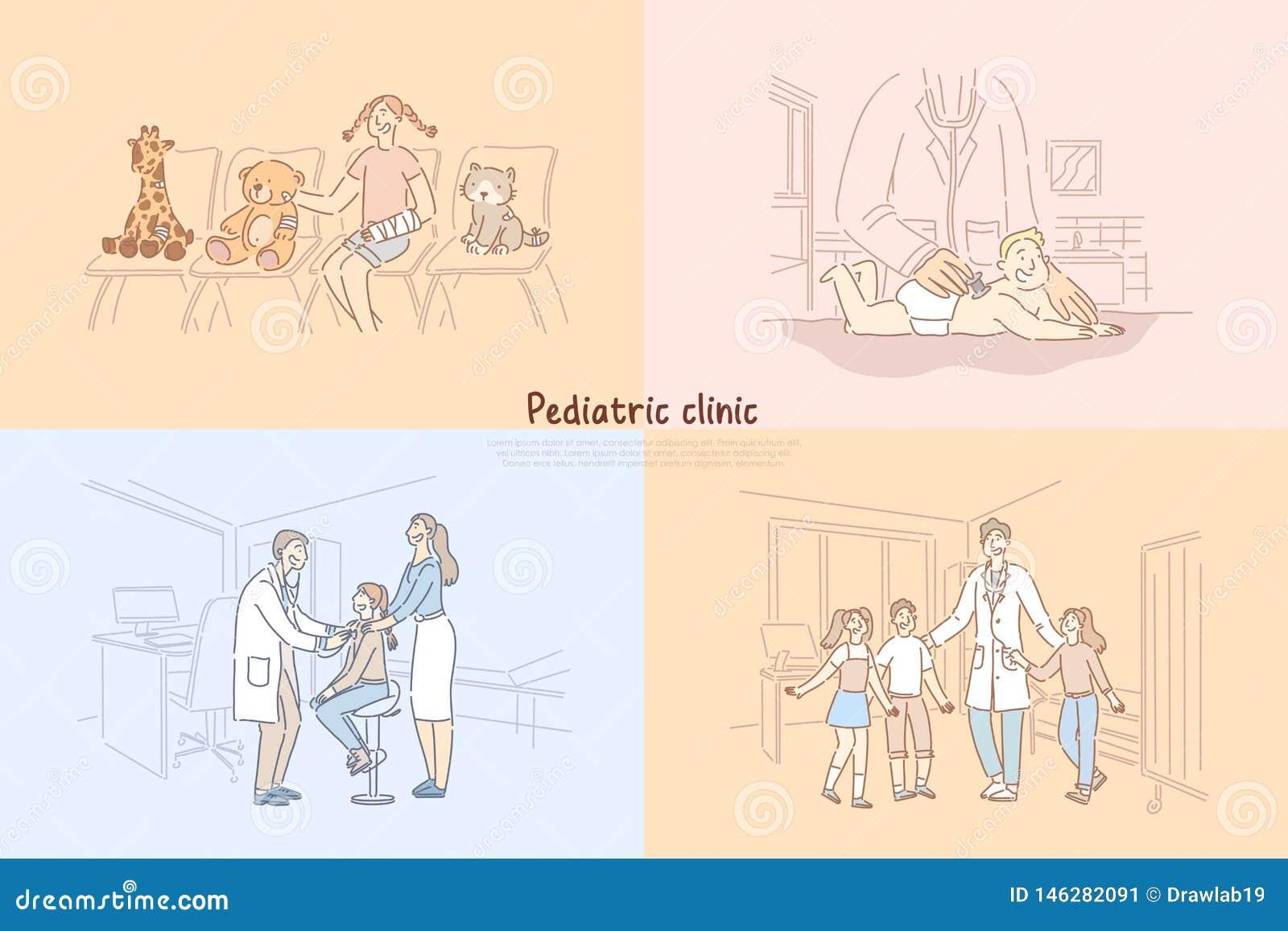 Clinique pédiatrique, bébé dans le bureau de pédiatre, fille dans la salle d attente d hôpital, enfants visitant le calibre de ba