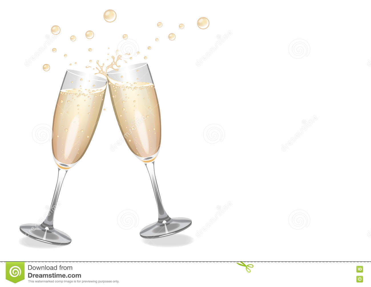 clinking champagne flutes with bubbles stock illustration