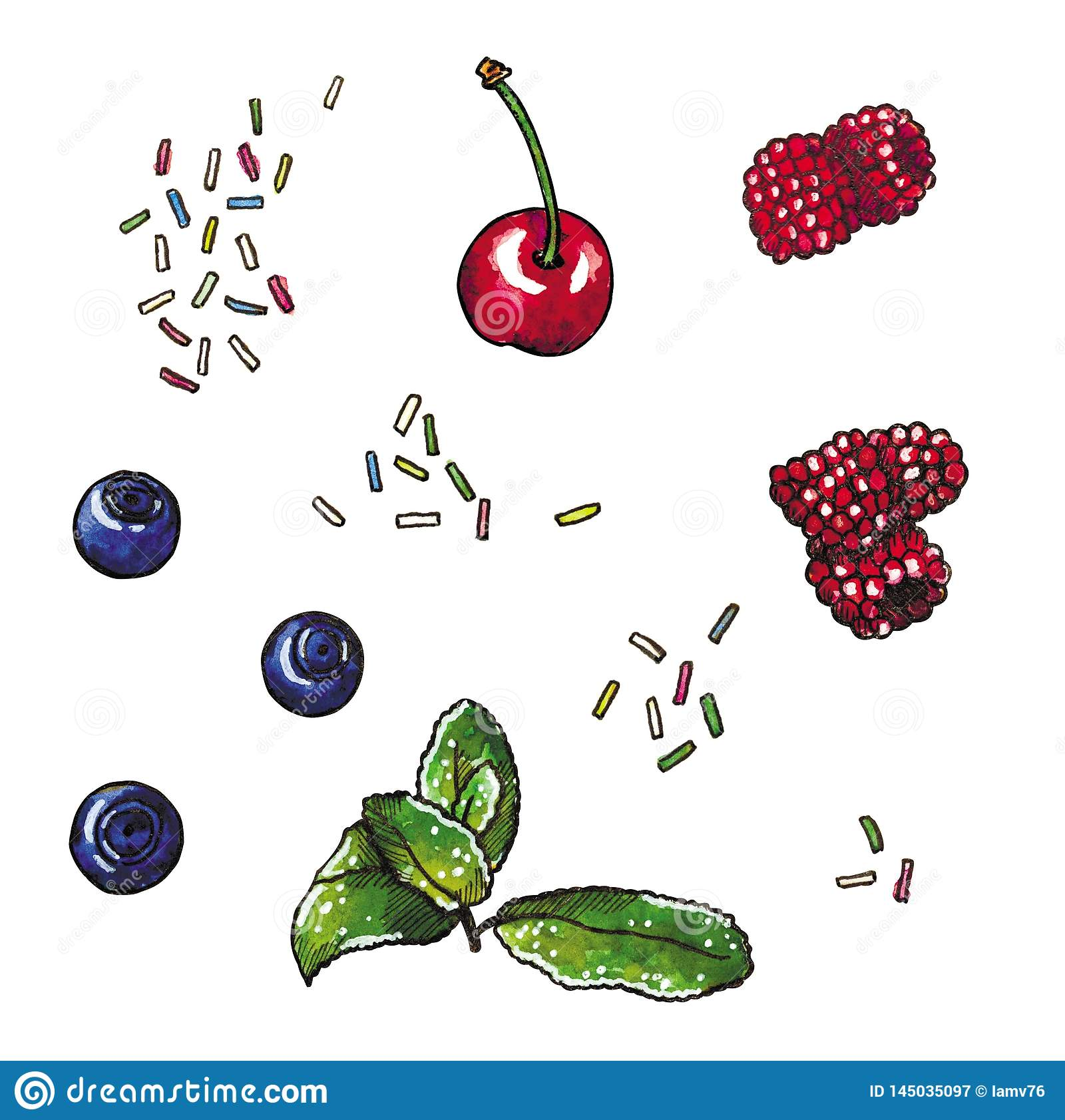 Clip art with berries, cherry, blueberry, raspberry, mint branch and sugary topping, hand drawn watercolor