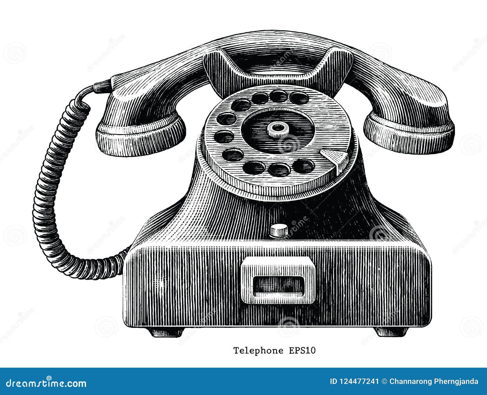 Clip art del drenaje de la mano del teléfono del vintage aislado en el backgroun blanco