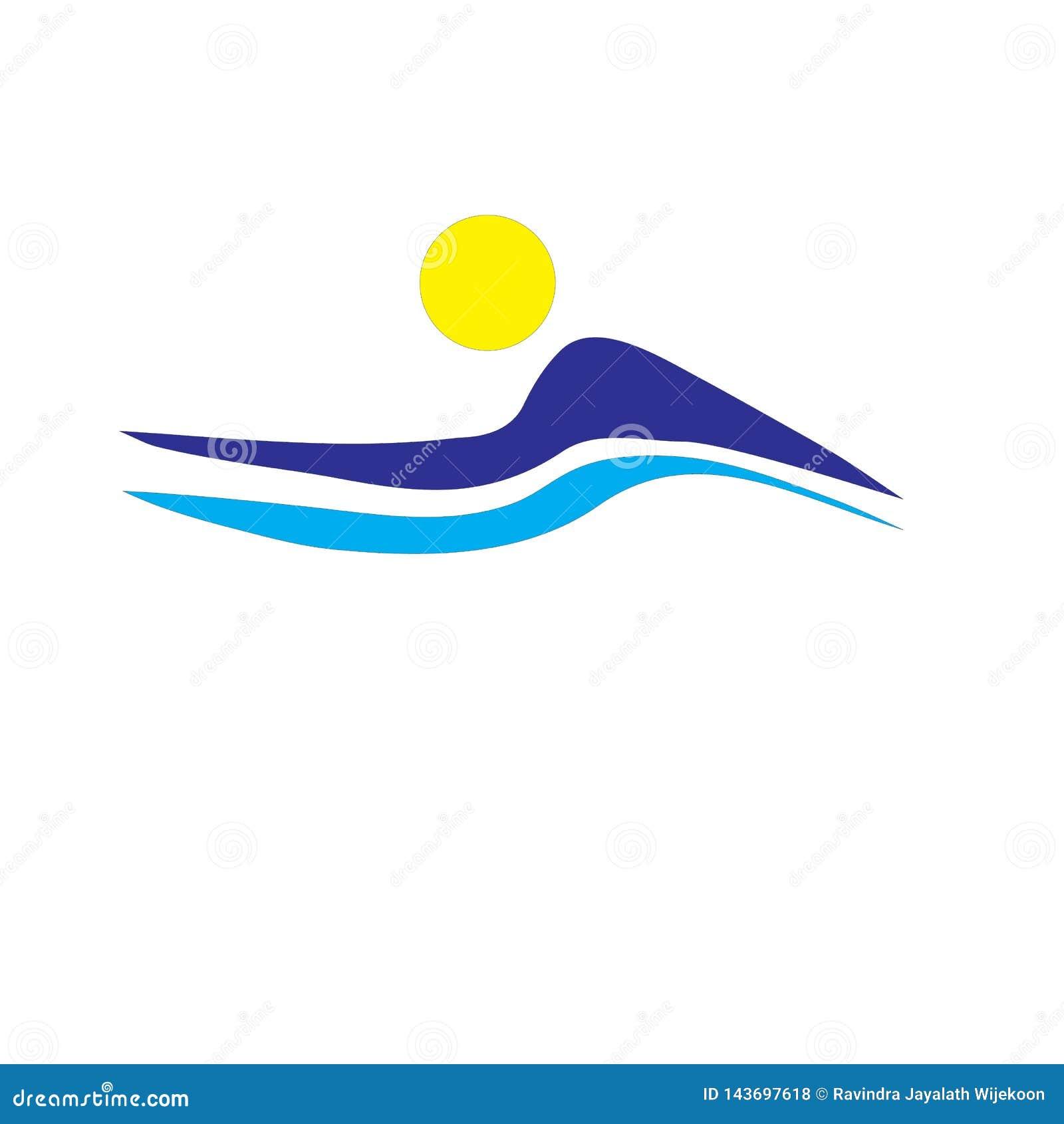 Clip art del vector del negocio del logotipo de la naturaleza de la montaña en el fondo blanco