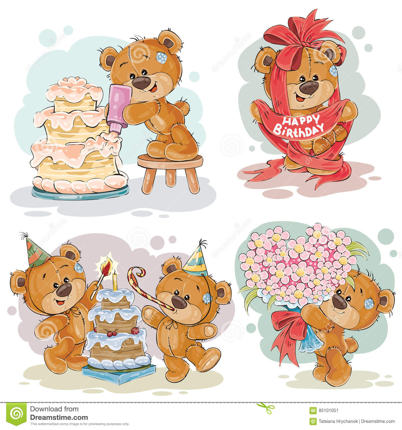 Clip Art Illustrations Of Teddy Bear Wishes You A Happy ...
