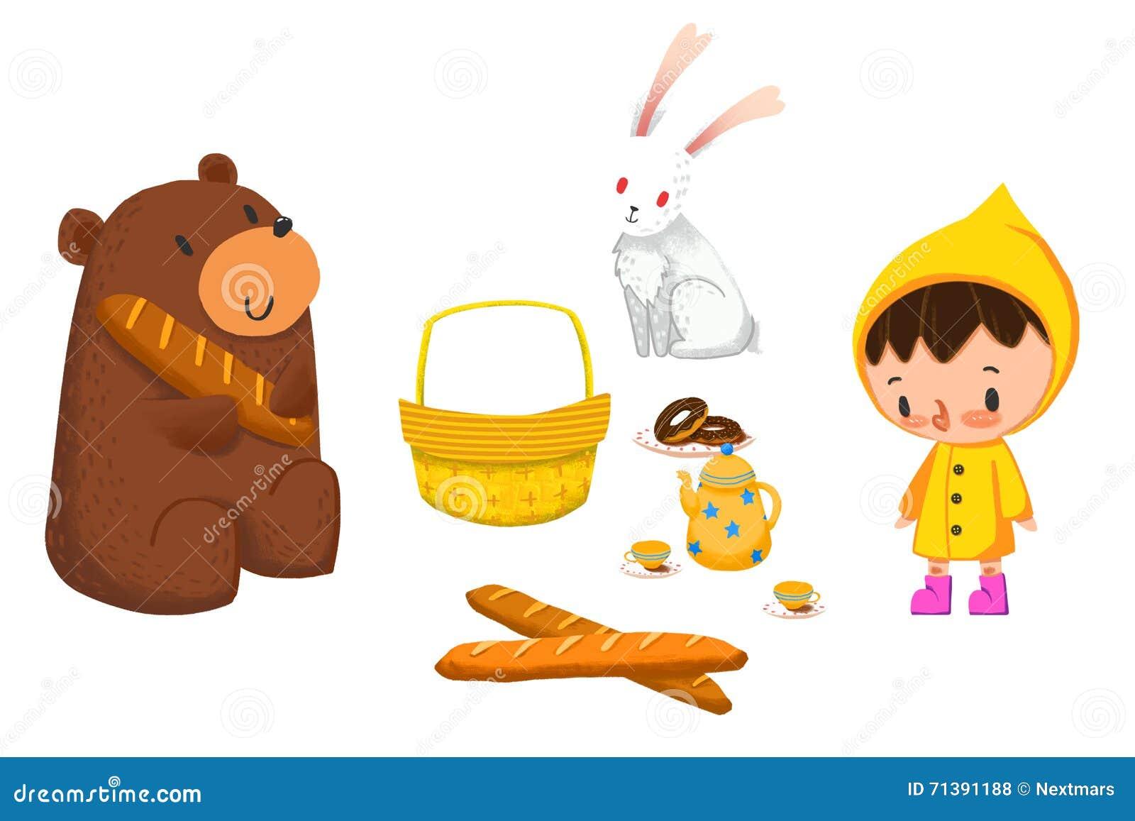 Clip Art Set Animal Food And Kid Stock Illustration Illustration Of Artwork Boot 71391188