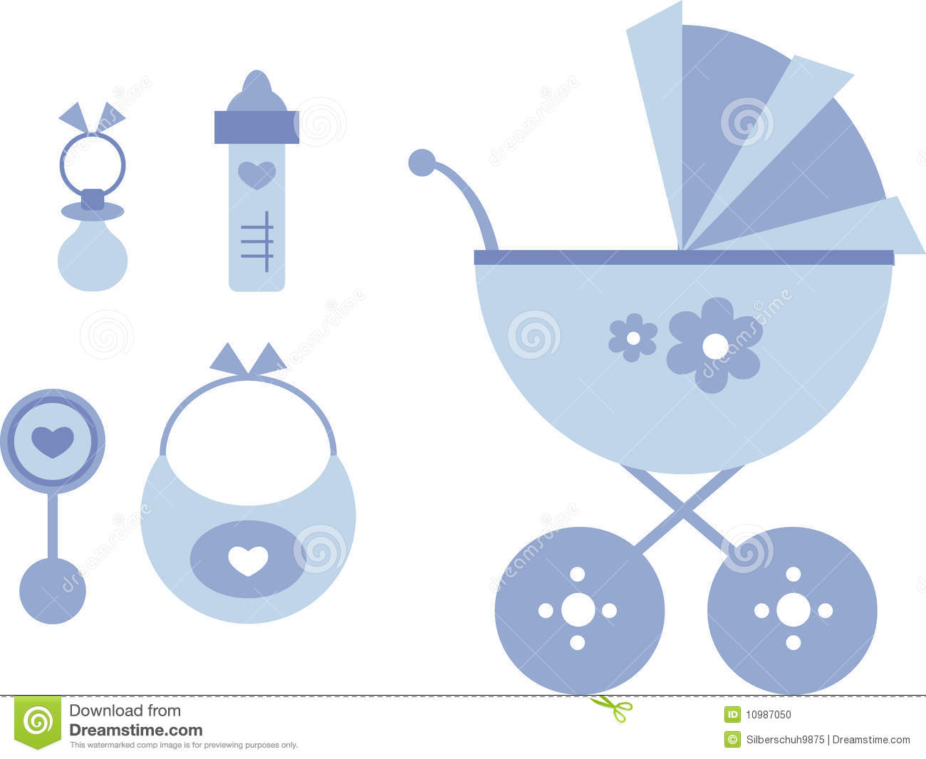 ... of baby items including: baby stroller, bottle, bib, rattle, pacifier