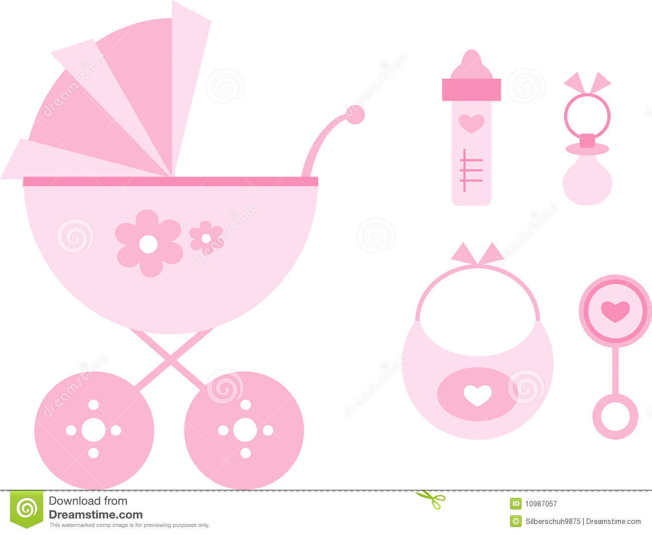 Clip-art Set: Baby (pink) stock vector. Illustration of isolated ...