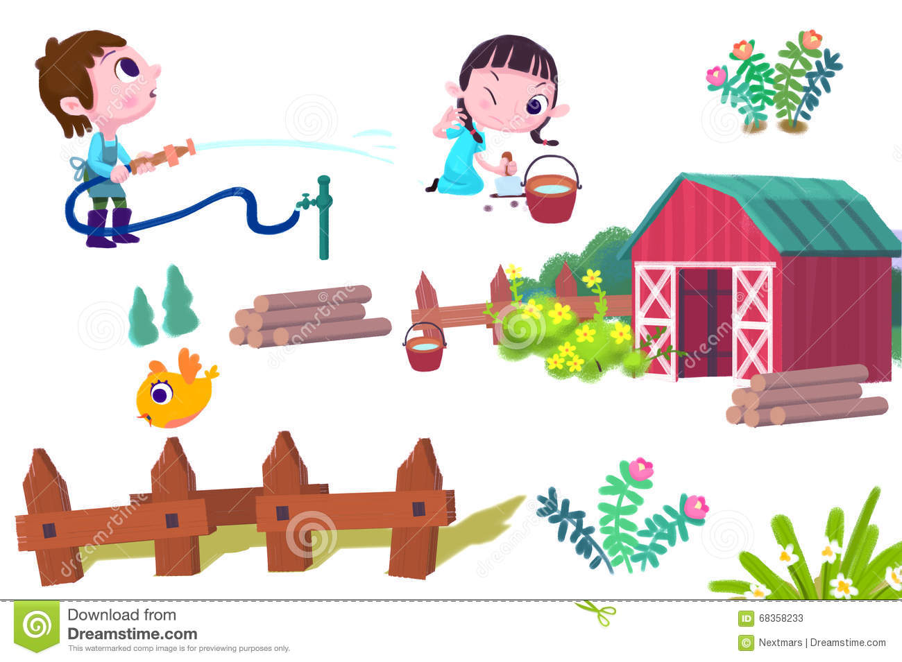 Farm Fence Clipart clip art set: boy and girl, bird, fence, farm house, wood, etc