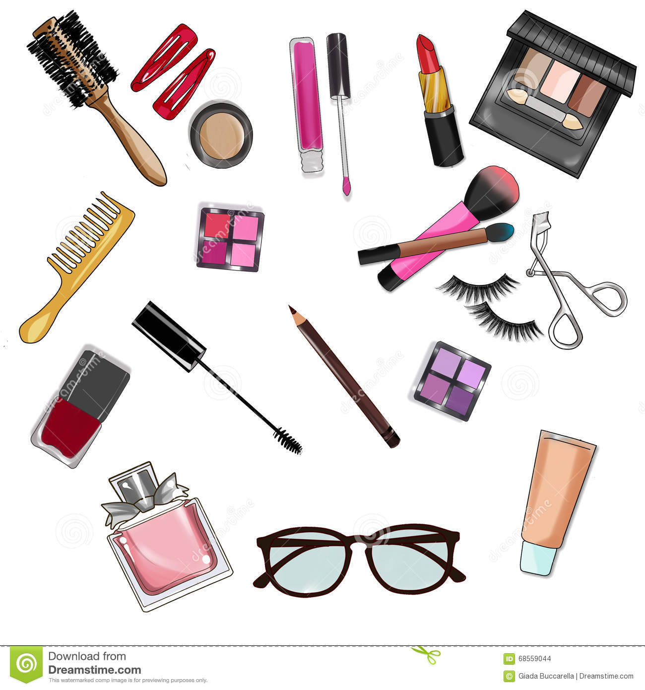 clip art set of make up and cosmetics stock illustration