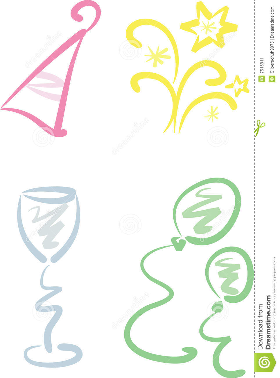 clip art set new year party