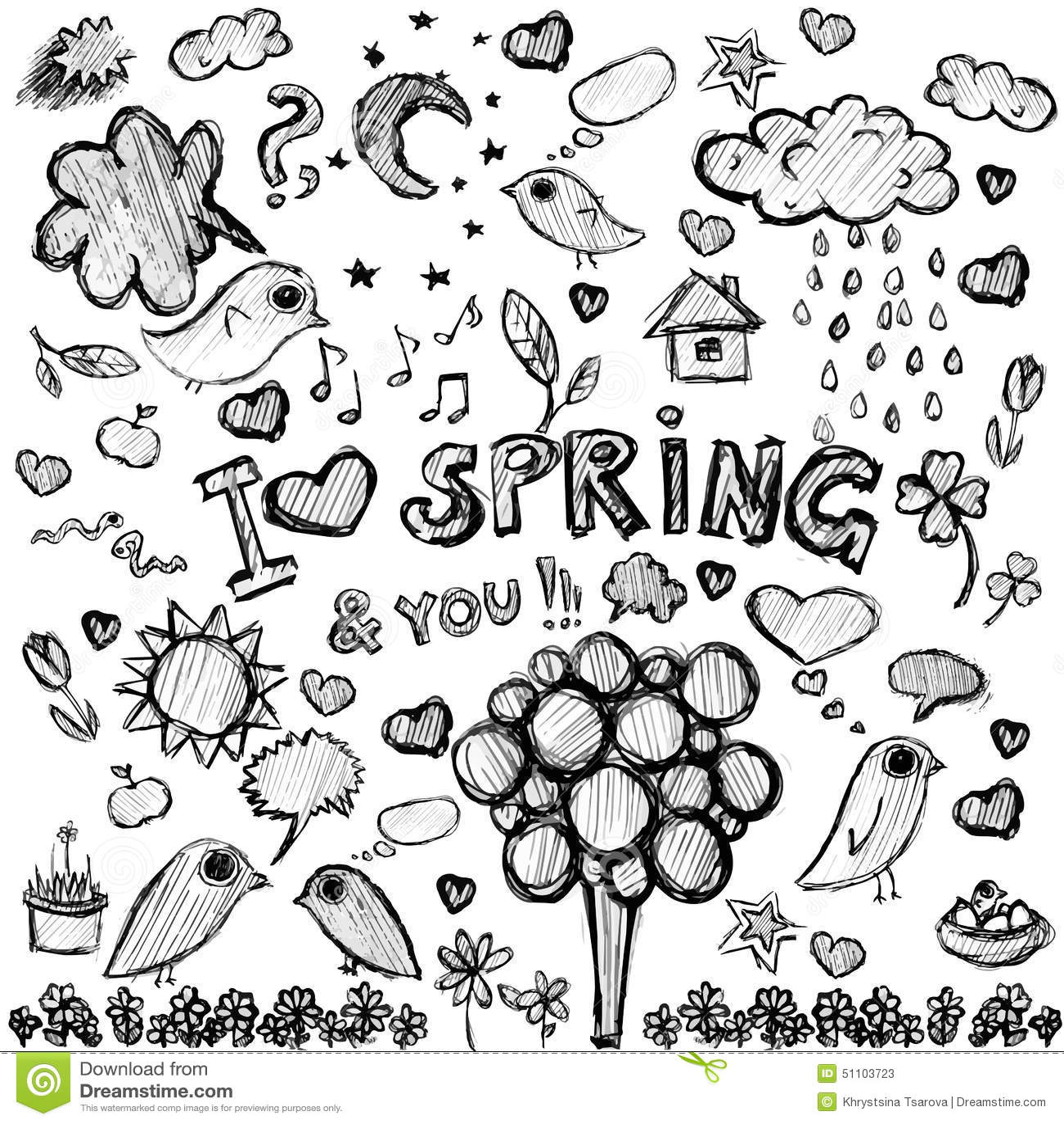 Clip Art Spring Black&white Illustrations Stock Vector ...