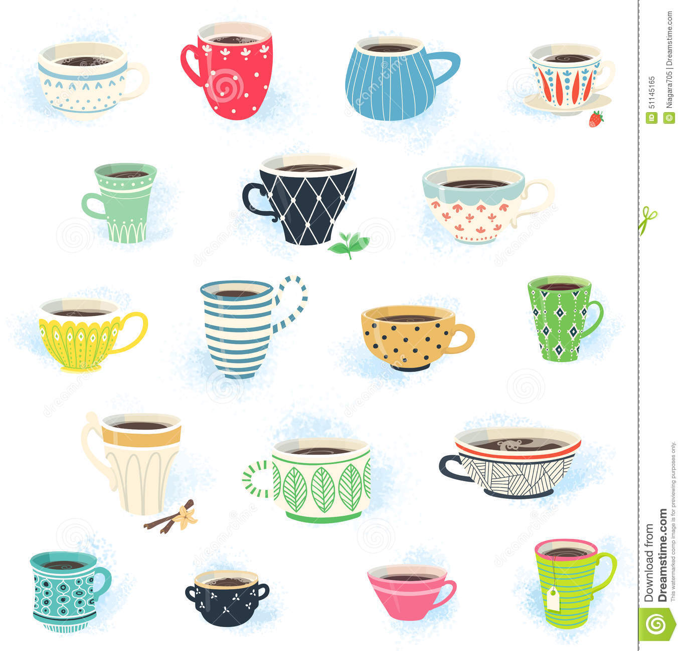 Stock Illustration Clip Art Tea Coffee Cup Collection Cute Cups Image51145165 on Stock Vector Illustration Food Pyramid For Kids Cartoon