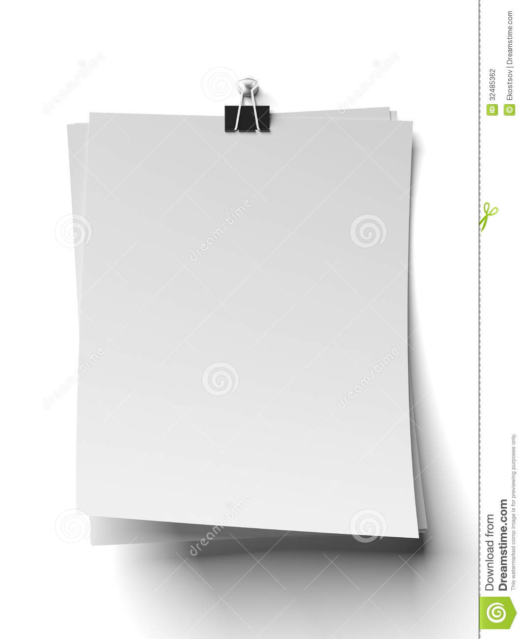 Clip And Blank Note Papers Stock Illustration