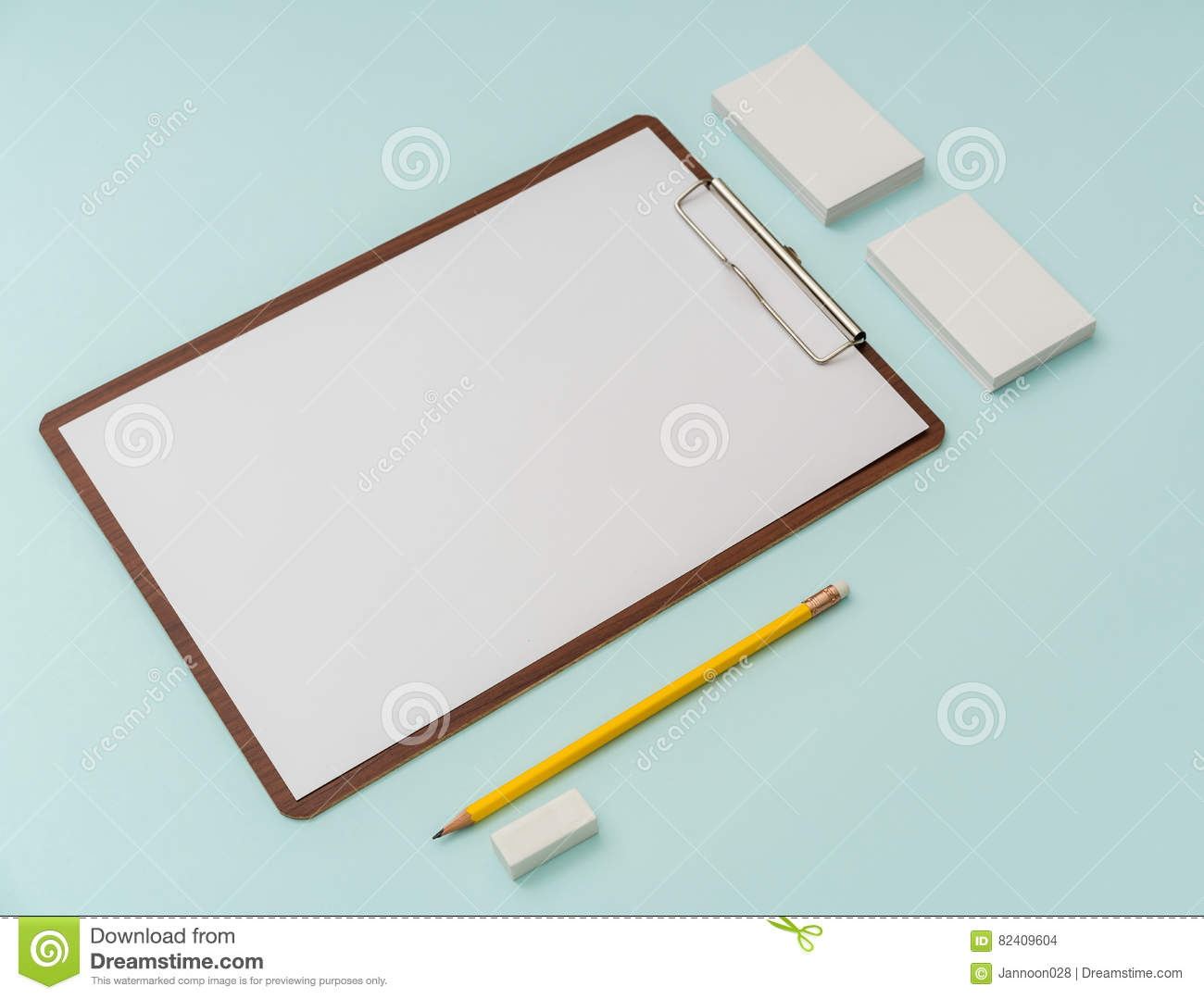 Clip Board, Paper,pencil And Business Card On Blue Background ...