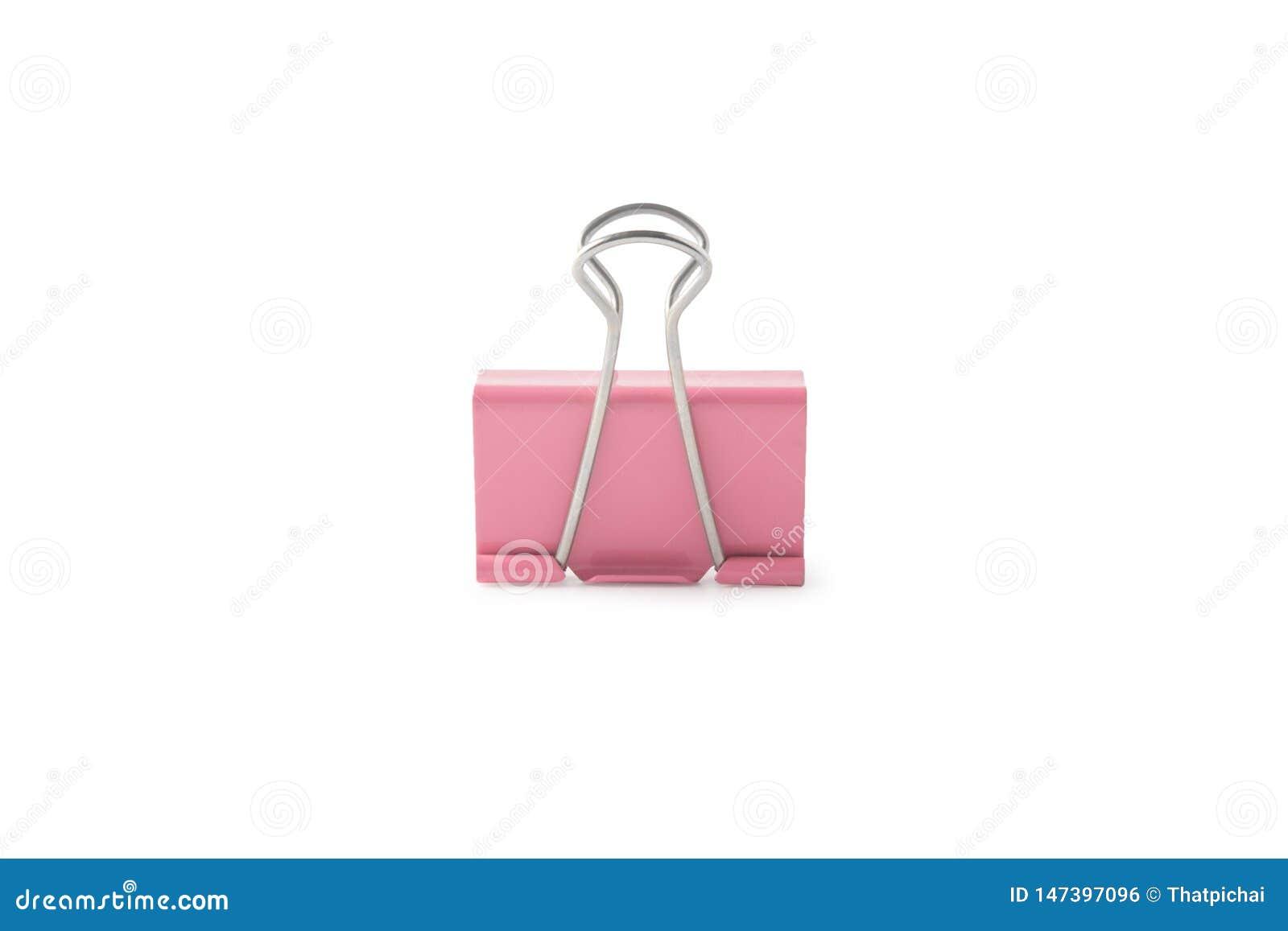 Clip de papel rosado aislado en el fondo blanco con la m?scara del recortes