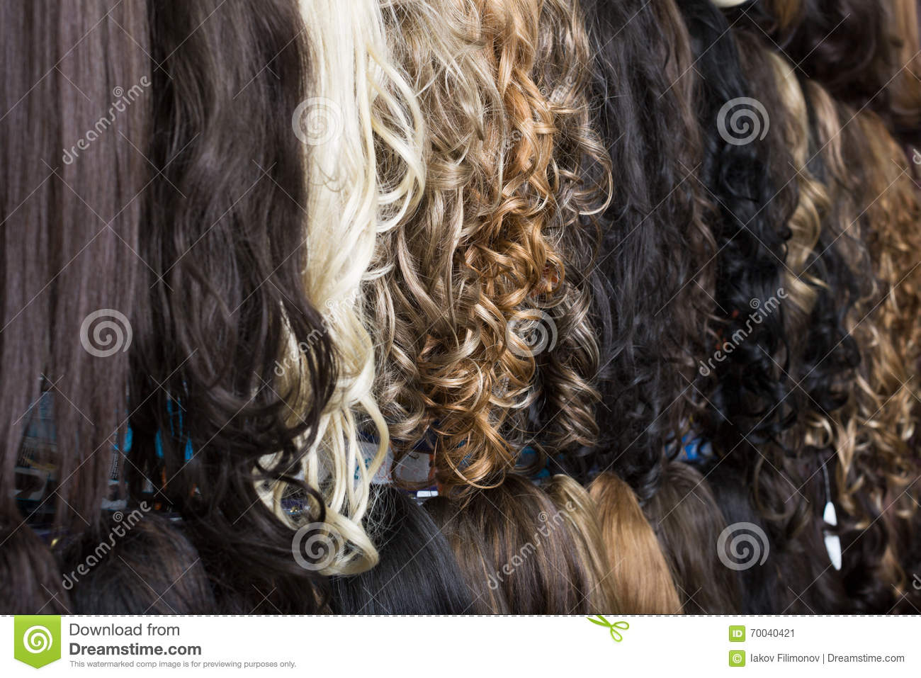 Clip In Hair Extensions In Wig Shop Stock Photo 70040421 Megapixl